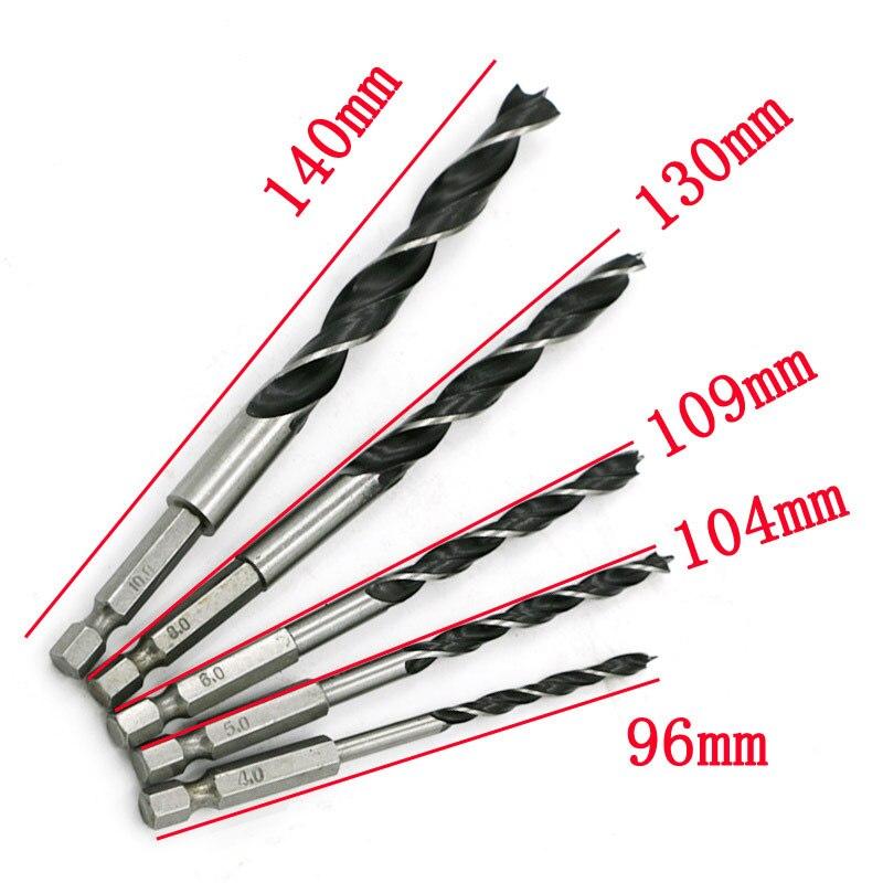 """5 piezas 1/4 """"vástago hexagonal madera HCS broca de cambio rápido de herramientas de Metal/4/5/6 /8/10mm herramienta de reparación de caja de herramientas es fácil de llevar"""