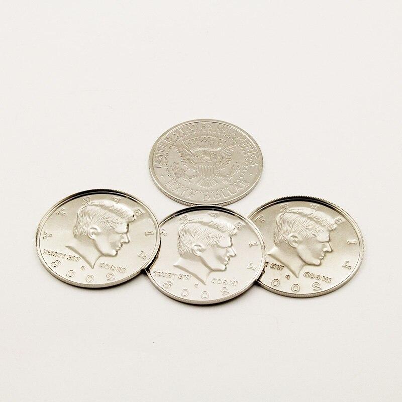 Truques de magia de moeda jumbo meio dólar 3 conchas e 1 moeda quatro moeda para uma grande moeda mágico truque profissional ilusão