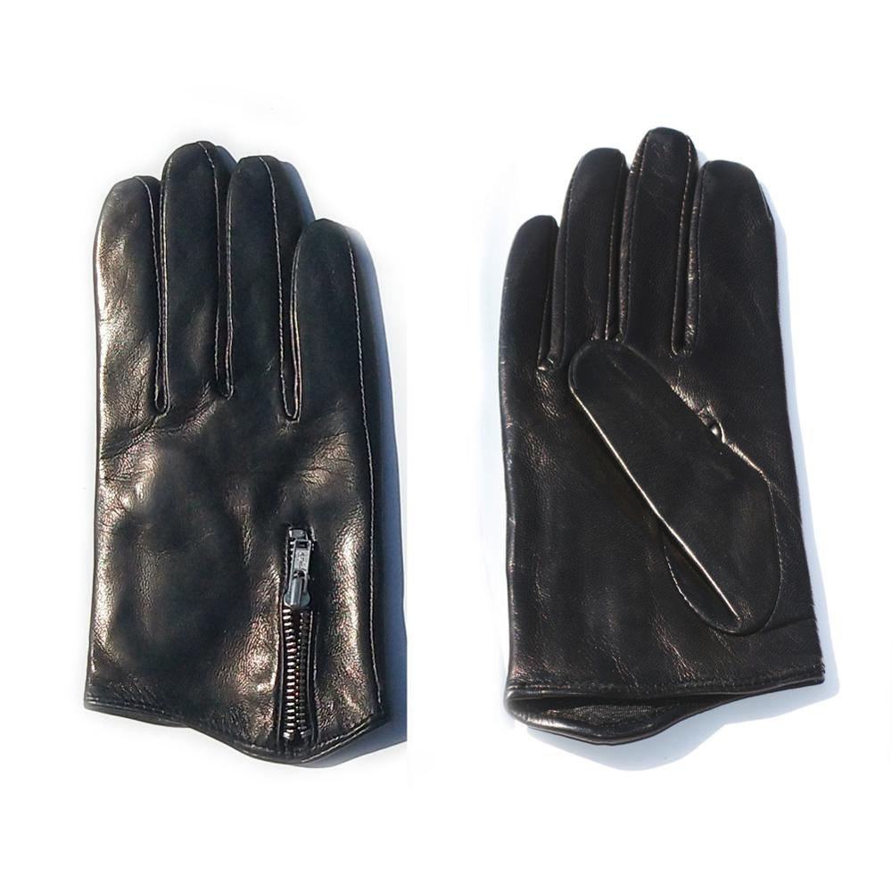KIMOBAA man short  zipper whole piece of leather top lambskin gloves black