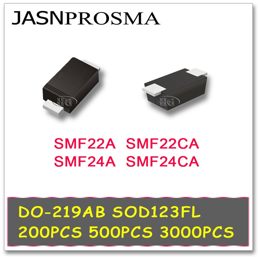 JASNPROSMA 200PCS 500PCS 3000PCS SOD123FL DO-219AB SMF22A SMF22CA SMF24A SMF24CA 1206 SMD TVS SMF