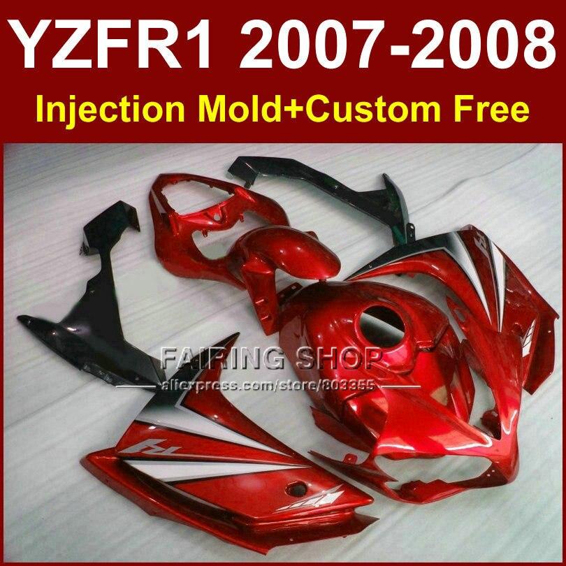 Jeux de caraux rouges customisés pour YAMAHA   YZFR1 2007 2008 kits de carjamais R1 YZF R1 YZF1000 YZF 1000 07 08 body works R1 F5TB