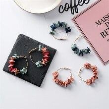 VIVILADY New Tide Bohemia Handmade Flowers Pendant Women Hoop Earrings Cute Alloy Holiday Beach Jewelry Brincos Gift