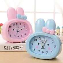 Horloge de Table pour enfants   Jouet mignon, dessin animé lapin, numérique, oreilles de lapin, alarme, cadeau pour étudiants, horloge muette pour enfants