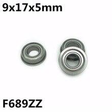 50Pcs F689ZZ 9x17x5 mm Flange bearings Deep Groove Ball Bearing High Quality F689Z F689