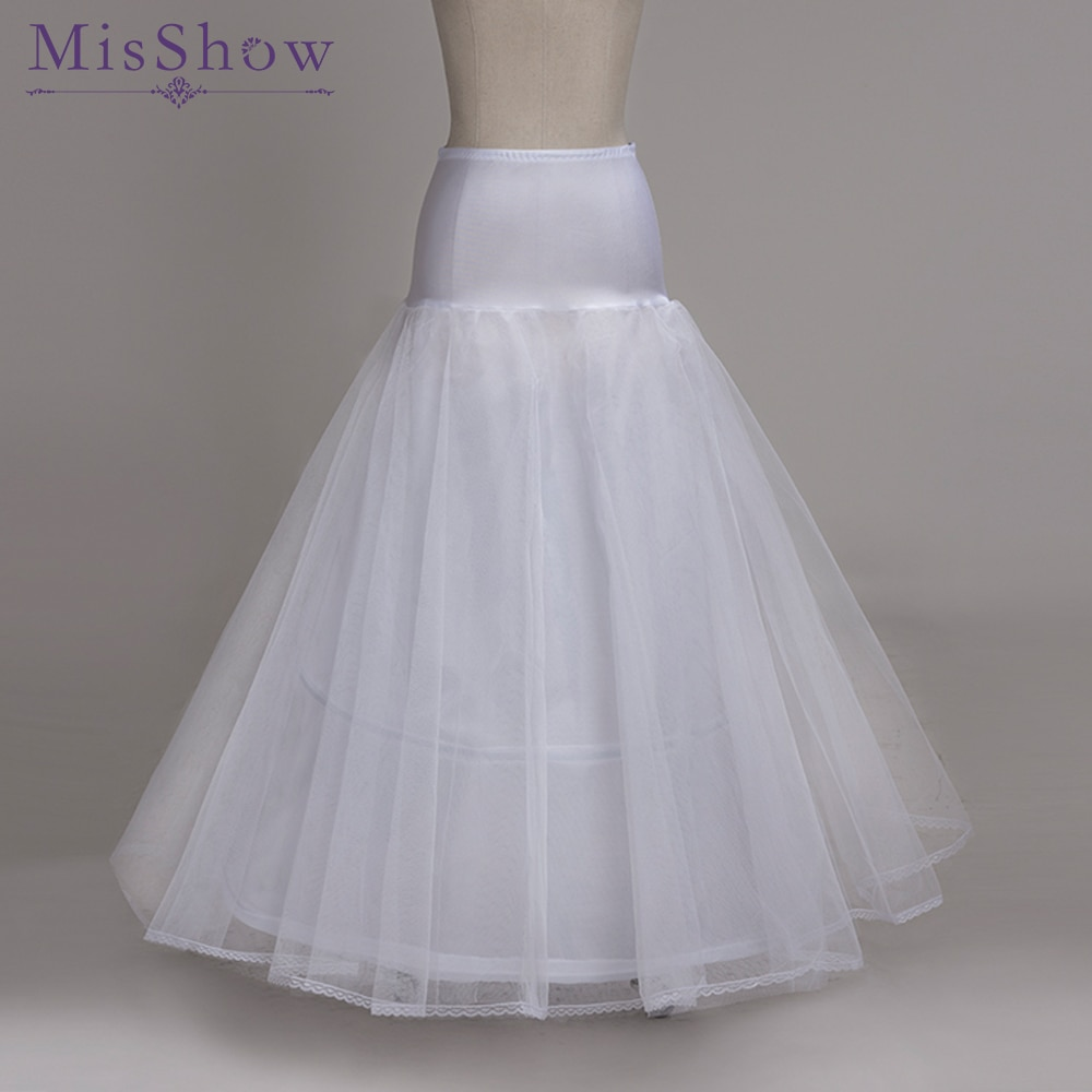 high quality A-Line Petticoats For Wedding Dress Cheap Free Size Crinoline 2 hoops Petticoat Underskirt Slip With Lace Trim 2019