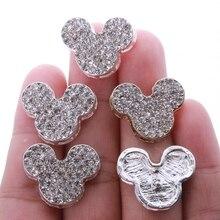 5 ADET 20*23 MM Yüksek Kaliteli Kristal Gümüş Fare Düğmeleri Kumaş Dikiş Alaşım Taklidi Düğmesi Düğün Için davetiyesi