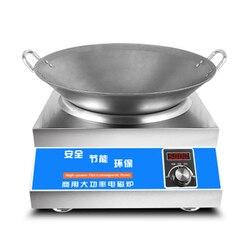 5000 W direto da fábrica côncavo fogão de indução comercial de alta potência panela quente autêntico tipo botão todo o aço inoxidável