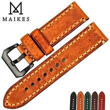 MAIKES montre accessoires bracelet de montre en cuir de vache italien 20mm 22mm 24mm 26mm bracelets de montre pour hommes bracelet de montre pour Panerai