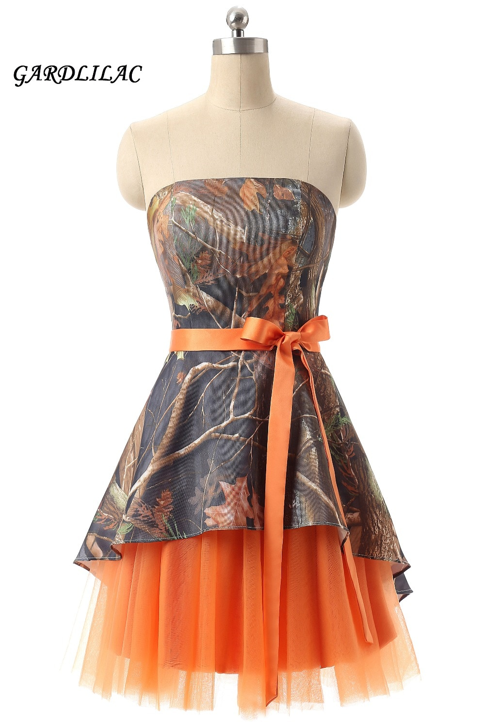 maid of honor dresses for weddings bridesmaid party dresses for women long prom dress graduation dresses back of bandage a line Orange Camouflage Bridesmaid Dresses Plus Size Wedding Party Gown Maid of Honor Camo Prom Dress