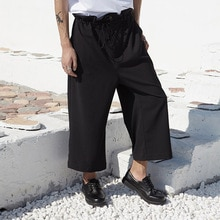 Men Drawstring Waist Wide Leg Casual Straight Pant Male Fashion Loose Harem Trousers Japan Streetwear Pants