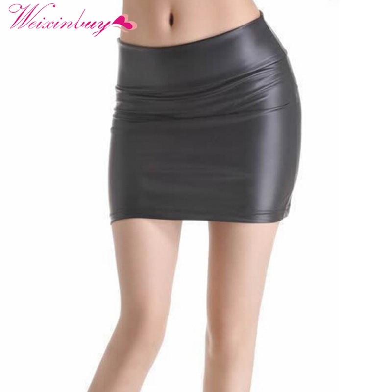 Мини-юбка WEIXINBUY, черные тянущиеся кожаные колготки на молнии, размеры s, m, l, xl, xxl, xxxl