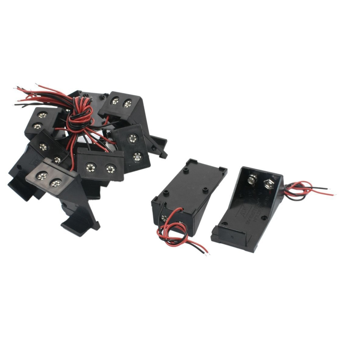 10 шт., два провода, пружинный зажим, 9 В, держатель для аккумулятора, ящик для хранения