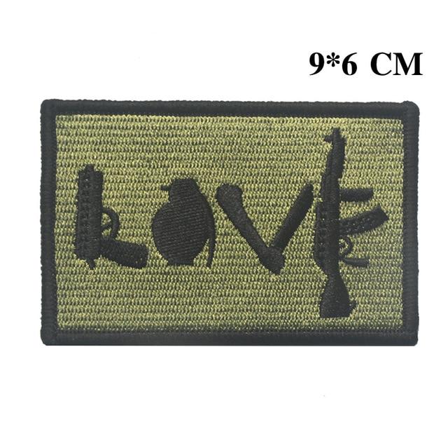 Armas moral parche de amor divertido pistola Granada Saber máquina Rifle ejército táctico insignia emblema aplique de insignia de parche