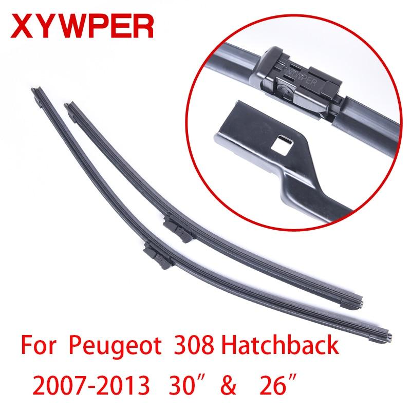 """Escobillas limpiaparabrisas XYWPER para Peugeot 308 Hatchback 2007 2008 2009 -2013 30 """"y 26"""", limpiaparabrisas de goma blanda"""