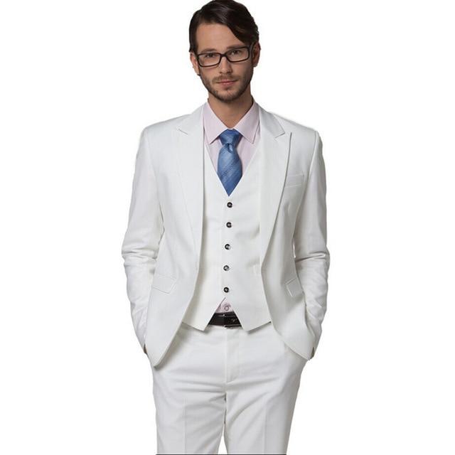 جديد موضة 2018 بدلة زفاف بيضاء للربيع وصلت حديثاً بدلة العريس بدلة رجل العريس بدلة ضيقة أفضل بدلة رجالية مقاس كبير 3