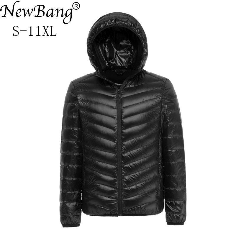 Мужская куртка на утином пуху NewBang 8XL 9XL 10XL 11XL, Мужская водонепроницаемая куртка с капюшоном на осень и зиму, мужской теплый пуховик