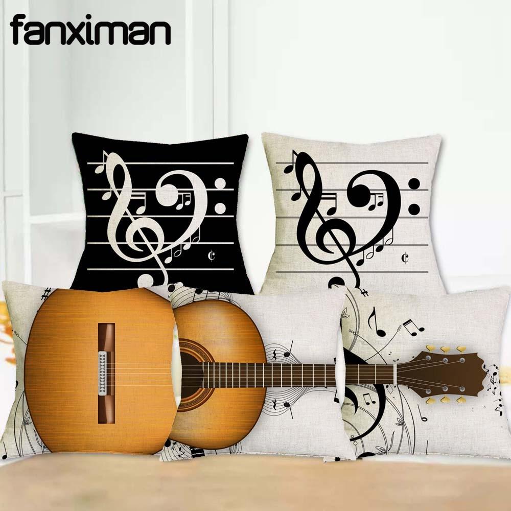 Creativo fundas de lino para almohadas, decoración de instrumento Musical guitarra cubierta de cojín estampada almohada sofá Cojines de asiento de coche