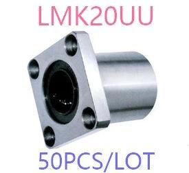 50 pçs/lote LMK20UU flange tipo linear rolamentos de esferas, quadrado flange linear bearing flangeada rolamento de esferas linear CNC router/3D impressão