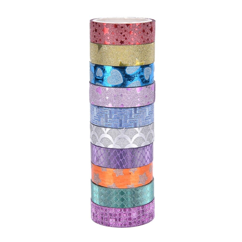 Set de 10 unidades de cintas Washi de colores con brillos, papelería japonesa, cinta adhesiva Decorativa Kawai, decoración