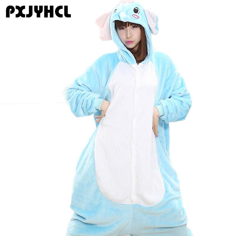 Adult Anime Kigurumi Onesie Blue Elephant Costume Pajamas For Women Men Animal Wolf Cosplay Onepiece Sleepwear Home Cloths Girl
