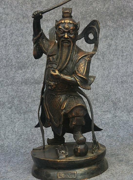 "18 ""Folk Oude China Royal Bronze Guardian Warrior God 3 Ogen Wang TianJun Standbeeld"