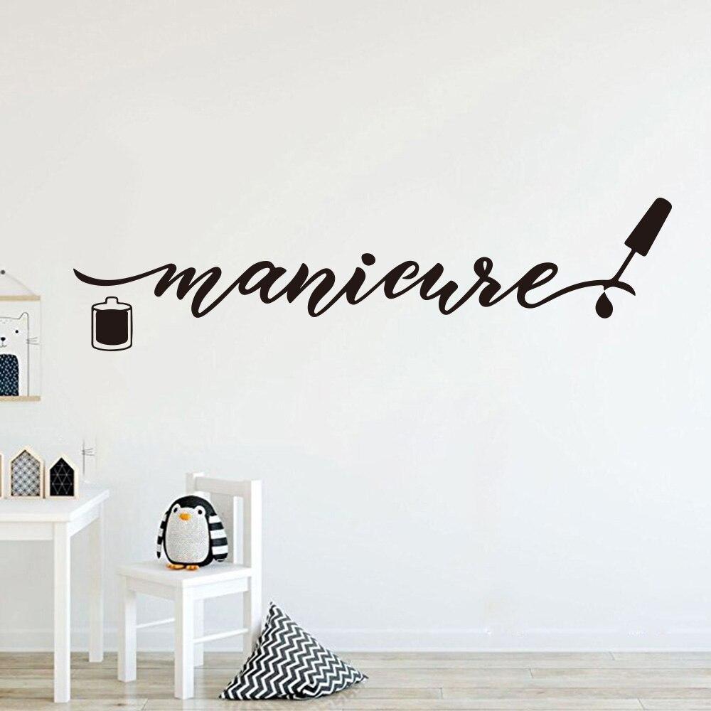 Gran logotipo de manicura para salón de manicura, pegatina de pared para manicura, palabra pedicura, polaco, salón de belleza para uñas, Adhesivo de pared para estudio, decoración de vinilo