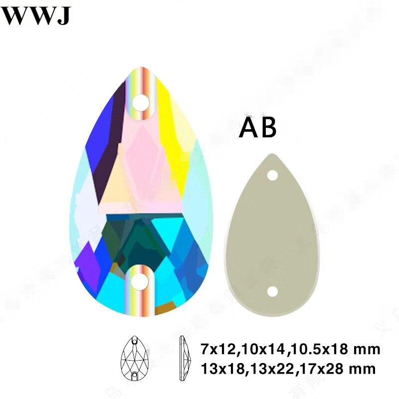K9 coser en #3230 AB Lágrima de cristal piedras para coser Flatback 7x12 11x18 13x22 17x28mm gota de cuentas de vidrio de cristal