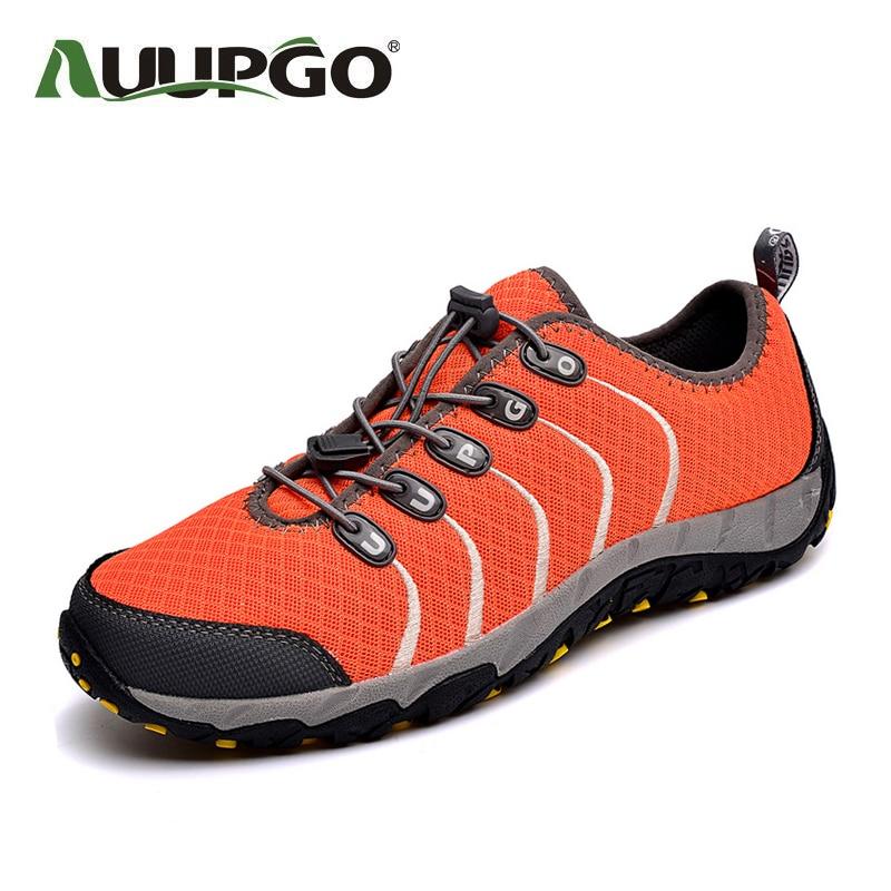 AUUPGO Men hiking shoes women outdoor shoes breathable summer sport shoes men sneakers super light A744