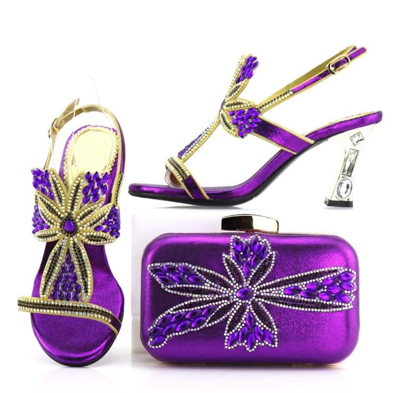 Wonderful Purple Wemon Pumps Matching Handbag Set With Rhinestone for African Shoes And Bag Set For Dress V7438