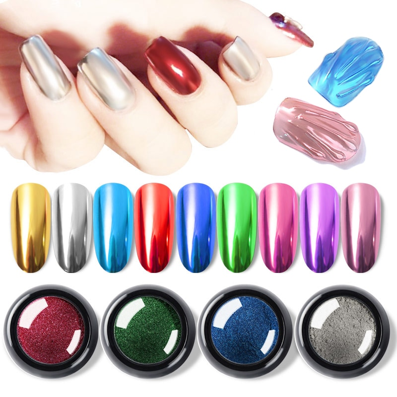0.5g Efeito Espelho Esfregar Super Brilho Prego Glitters Pó de Titânio Metálico Manicure DIY Nail Art Pigmento Cromo Poeira Decorações