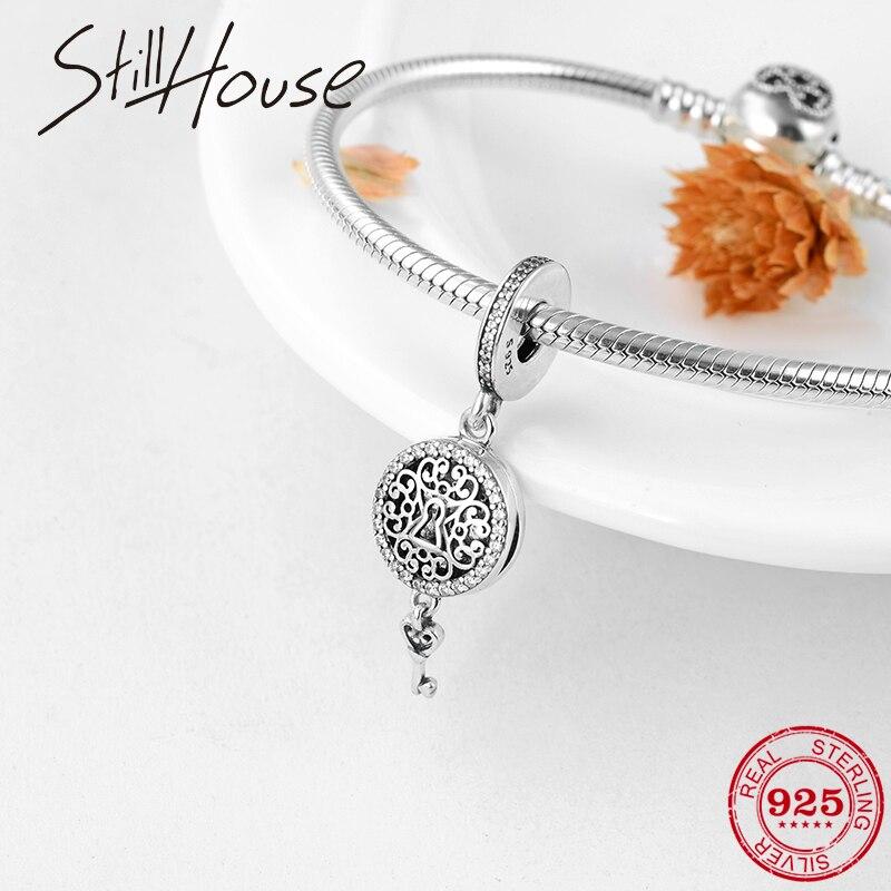 Moda 925 árbol de plata de ley de la vida con colgantes de llave se adapta a Pandora Original encanto pulsera fabricación de joyería