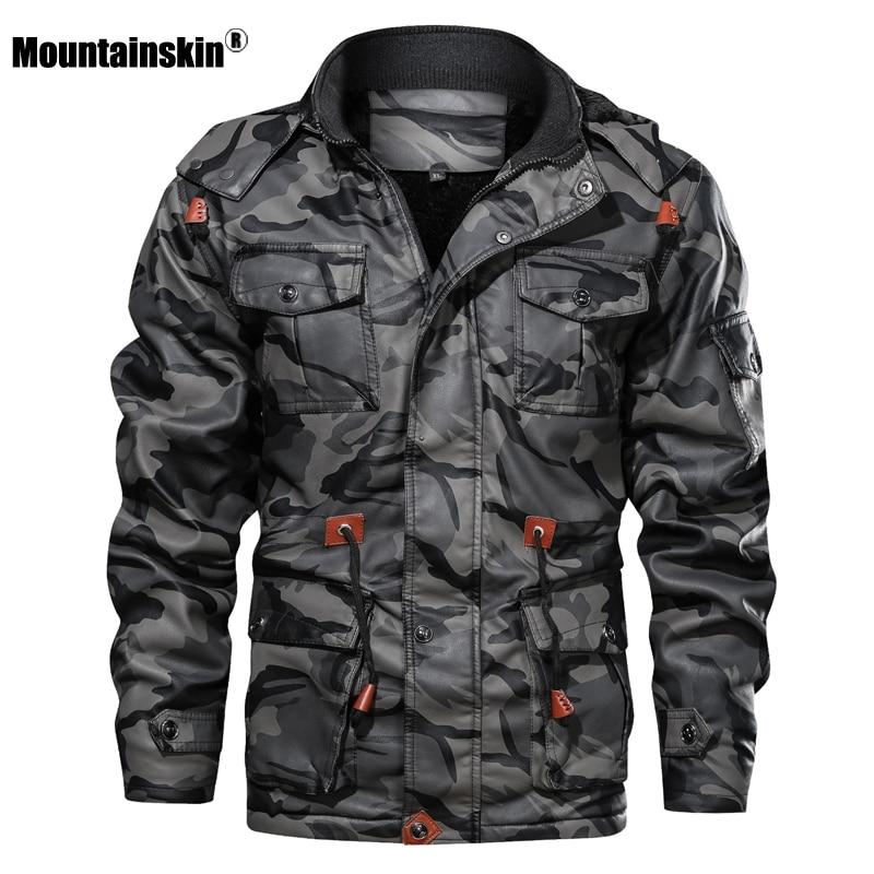 Mountainskin männer Leder Jacken Winter Fleece Dicke Herren Mit Kapuze PU Mäntel Männlichen Mode Motorrad Outwear Marke Kleidung SA724