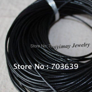 Wholesale 100m 2mm Black Leather Necklace Cords For DIY Free Shipping