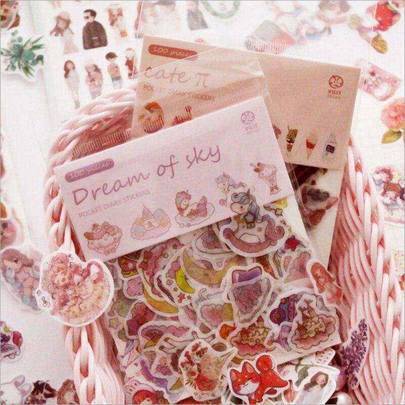 100 hojas pegatinas con dibujos animados bolsa flor gato Decoración Adhesivo papelería escolar Bullet diario venta al por mayor Kawaii