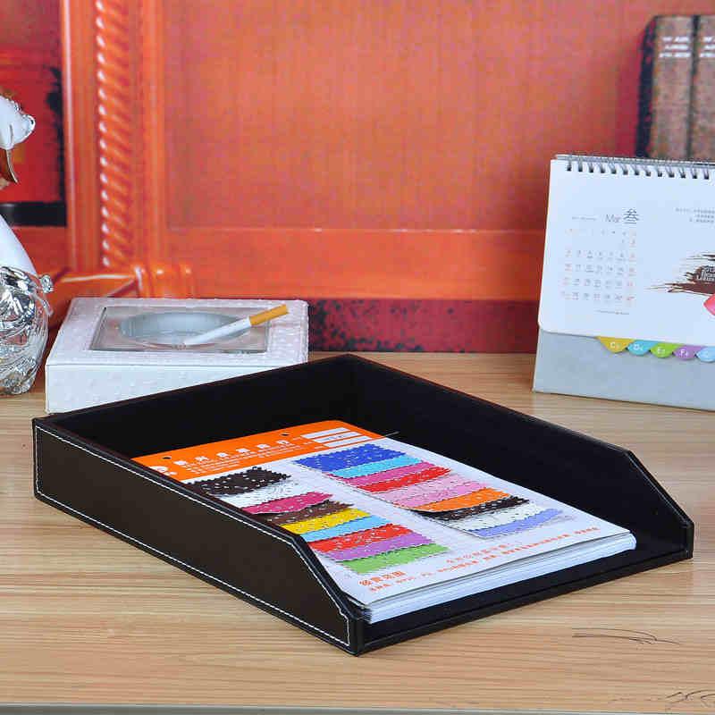 A4 de cuero de madera Escritorio de oficina archivo bandeja de documentos revista caja de papel organizador de mesa bandeja para documentos accesorios titular negro 225A