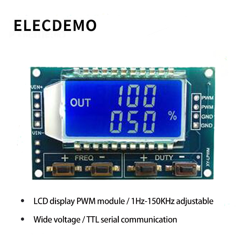 PWM pulse frequency duty cycle adjustable module Square wave rectangular wave signal generator XY-LPWM 1 channel signal generator pwm pulse frequency duty cycle adjustable module lcd display 1hz 150khz 3 3v 30v pwm board module