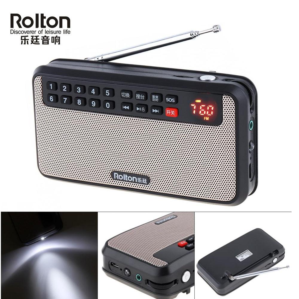 Rolton Portable Digital FM Radio dab radios portatil am fm radyo TF Music Player Speaker with USB LCD Display Flashlight