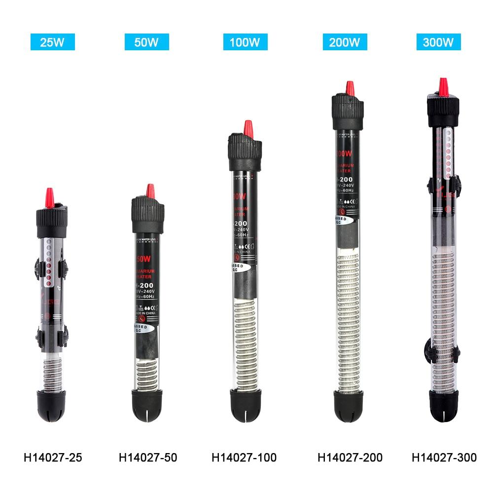 New Submersible Aquarium Heater Heating Rod for Aquarium Fish Tank Temperature Adjustment 220-240V 25W/50W / 100W / 200W / 300W
