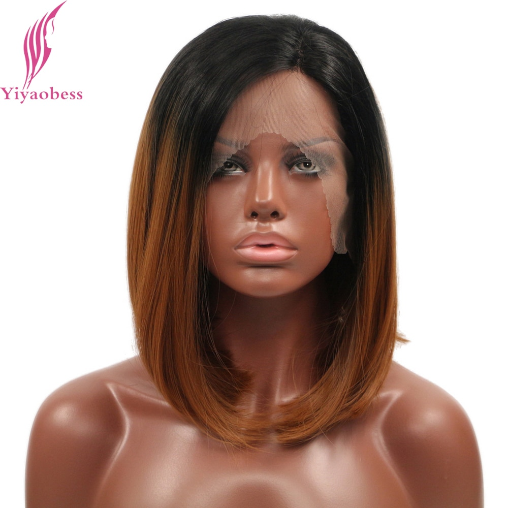 Yiyaobess 14inch Straight Grey Green Black Brown Ombre Lace Front Wig Glueless Heat Resistant Synthetic Short Bob Wigs For Women