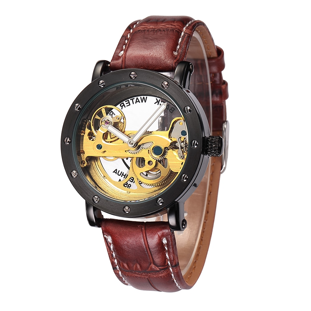 SHENHUA Automatic Mechanical Watch men Top Brand Luxury Leather Stainless Steel Transparent Skeleton