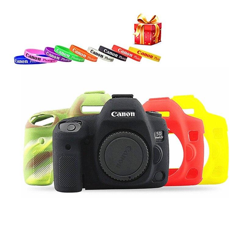 Suave de silicona cuerpo protector de goma de cámara caso de la cubierta de piel para Canon 5DMark III 5D3 5DS 5D4 6D 6D2 70D 80D 800D bolsa de la cámara