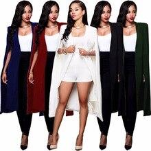 Vrouwen Mantel Cape Lange Blazer Jas Mode Zwart Wit Persoonlijkheid Notched Hals Revers Split Jas Pakken Werkkleding Blazer Feminino