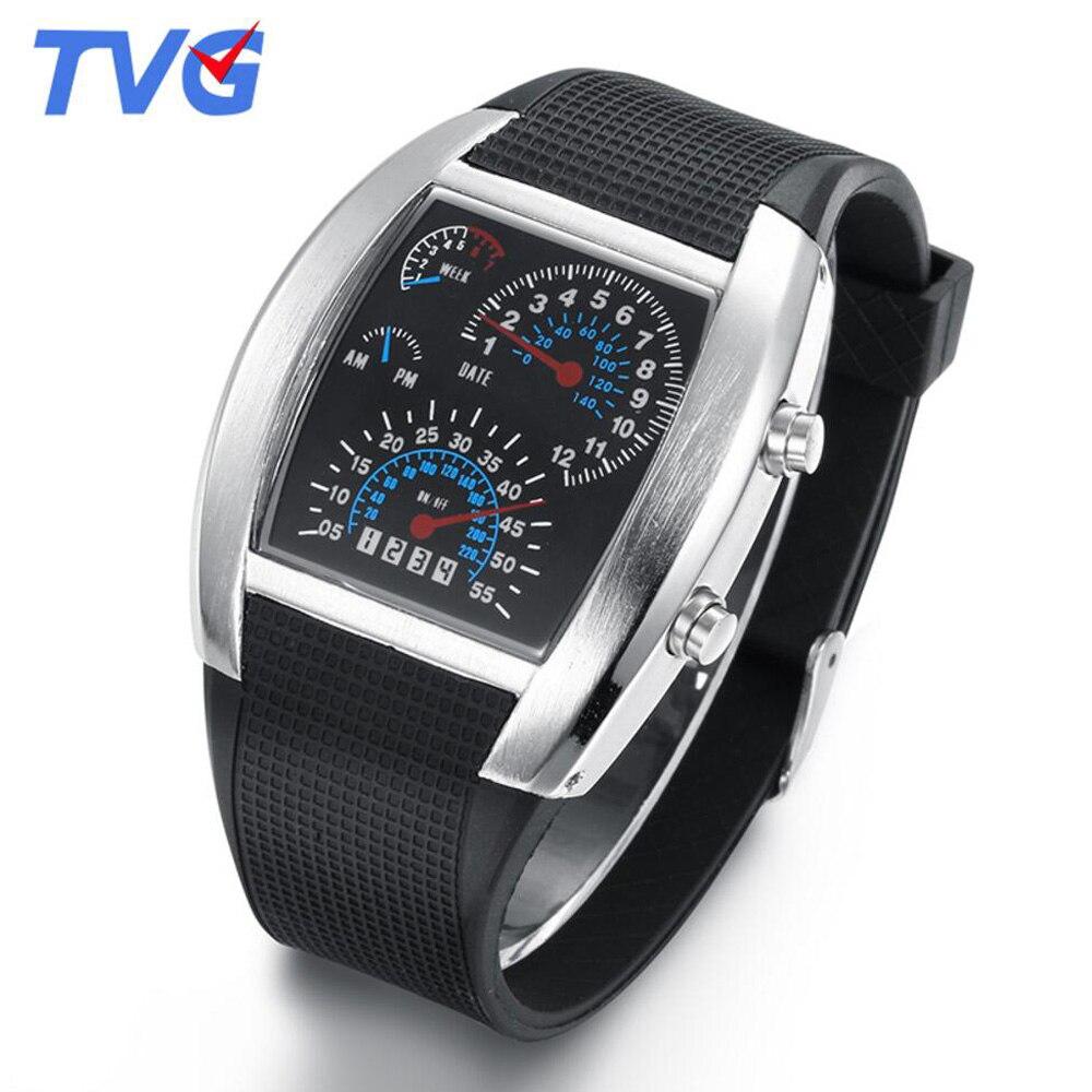 Relogio Masculino TVG Blue Led Binary Watches Fashion Silicone Strap Led Digital Watches Boys Men Sp