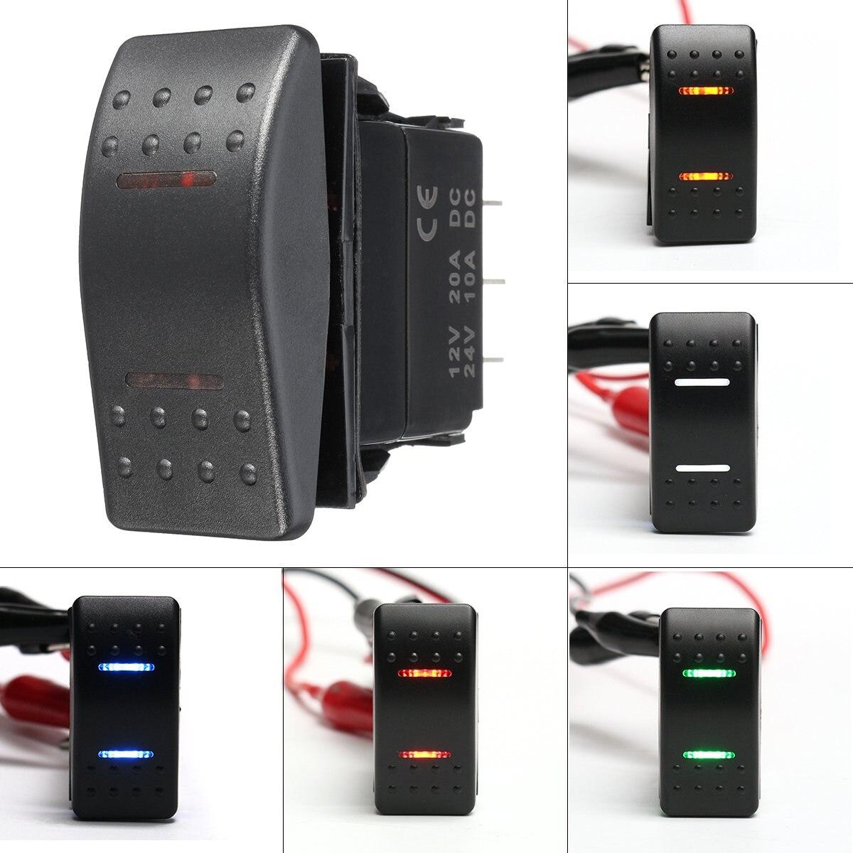 Светодиодные судовые переключатели 12 В 24 В, 7 штырьков, DPDT ВКЛ./ВЫКЛ., 2 светодиодных выключателя