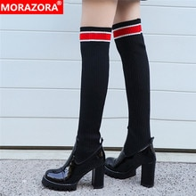 MORAZORA 2020 جديد فوق الركبة أحذية النساء براءات جلد طبيعي الجوارب المرنة الأحذية ضئيلة مثير عالية الكعب منصة أحذية عالية