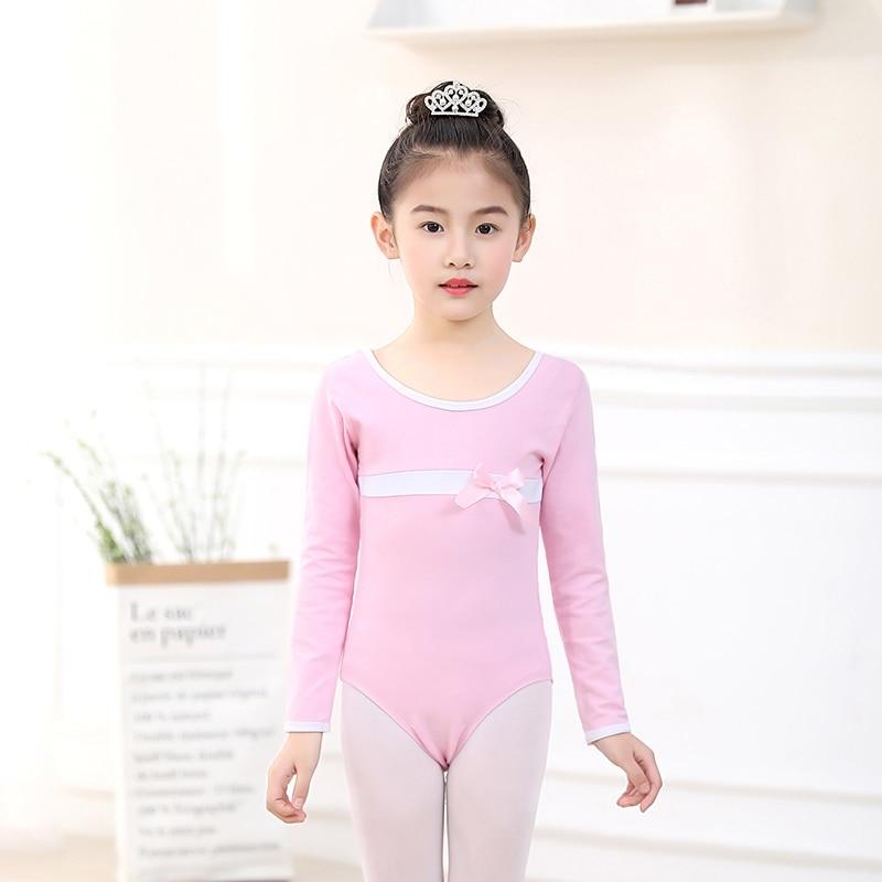 Girls Ballet Print Dance Wear Long Sleeve Cotton Dance Leotards Toddler Kids Black Gymnastics Ballet Leotards With Snap Crotch