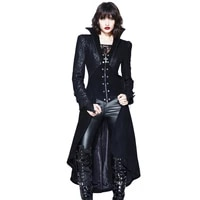 autumn winter new arrival gothic jacket with skirt women black sexy palace jackets stand collar halloween party punk jacket