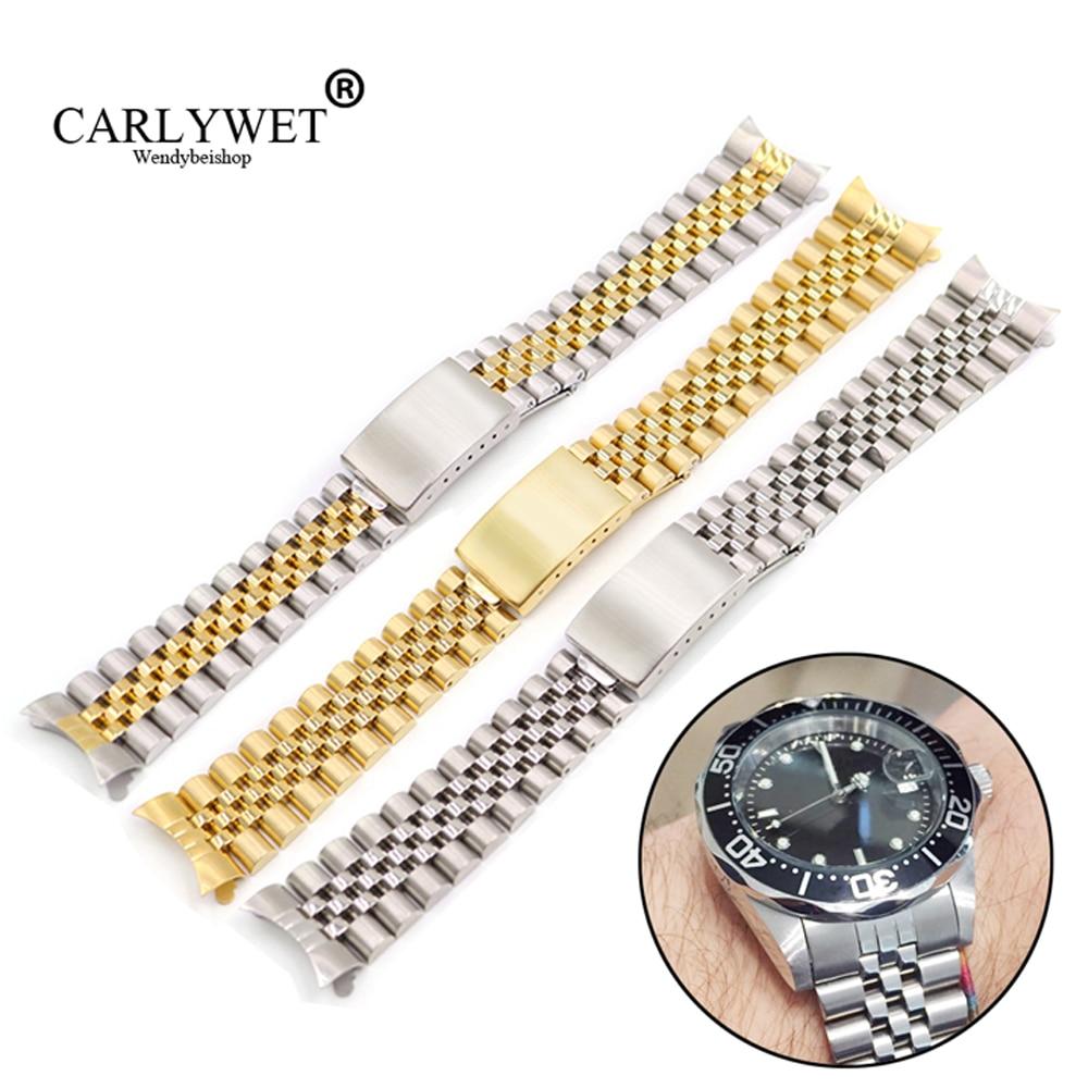 Браслет для часов Datejust, сменный стальной винтажный юбилейный браслет с полыми и изогнутыми концами, 19, 20, 22 мм