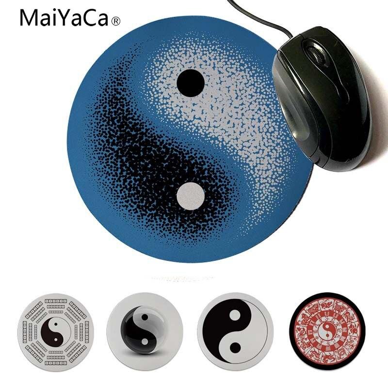 MaiYaCa Tai Ji Yin Yang los ocho gráficos pequeños juegos alfombrillas para el ratón 20x20cm 22x22cm de diámetro alfombrilla redonda para ratón