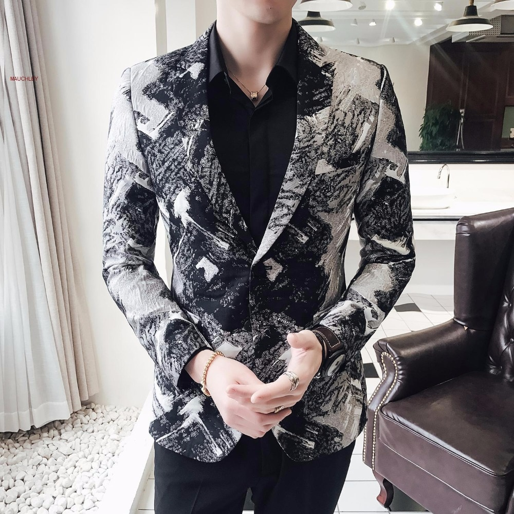 Large Size 5XL Suit Blazer Men Walking Blazer Masculino Fashion Black Printing Man Jacket Blusa Masculina Winter Jecket 2019